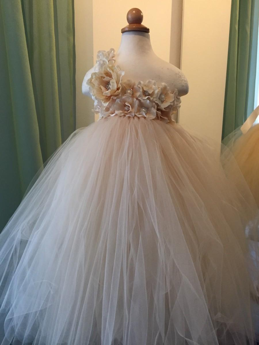 Champagne Flower Girl Dress Tulle Dress 2471616 Weddbook