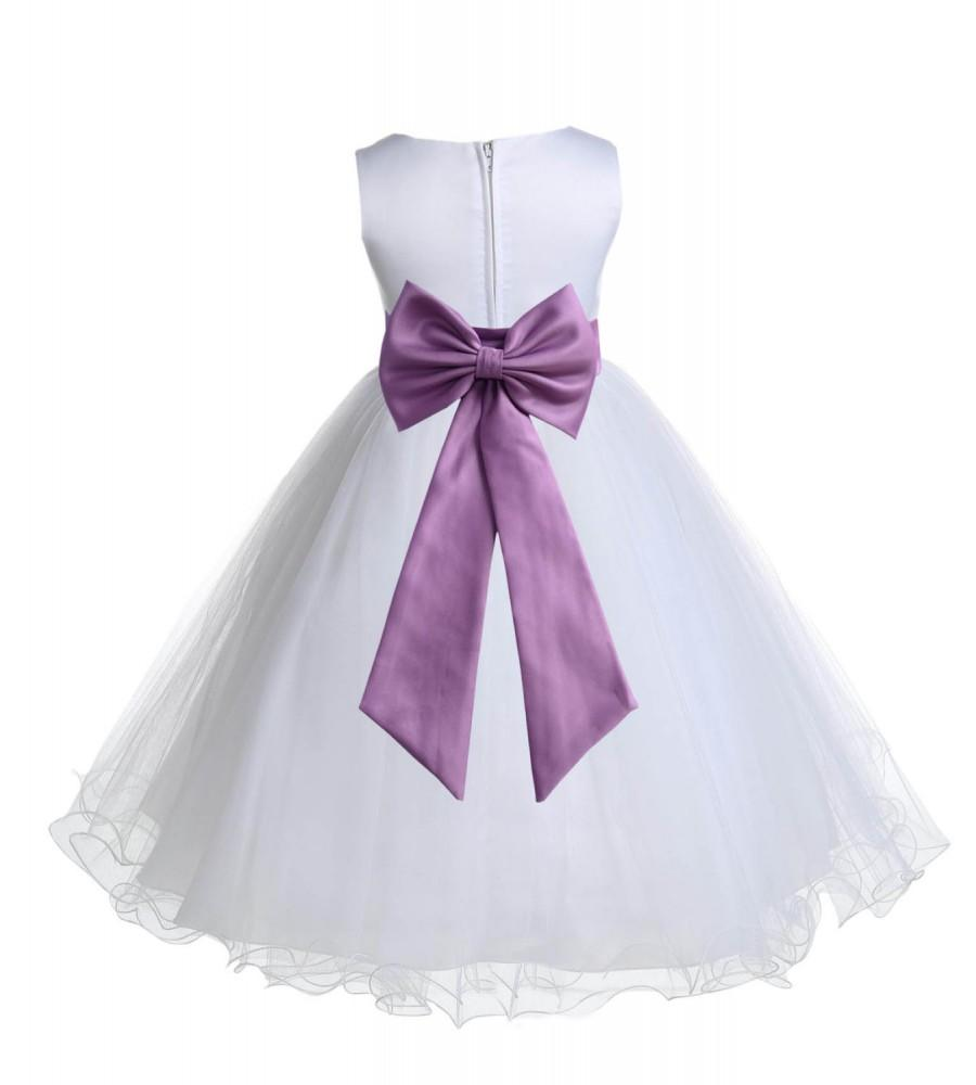 bff9cd623 White Flower Girl dress tiebow sash pageant wedding bridal recital children  tulle bridesmaid toddler sashes sizes 12-18m 2 4 6 8 10 12