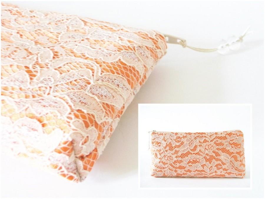 Свадьба - Wedding Clutch Peach Lace on Orange Satin, Elegant Bridesmaid Clutch Handbag, Orange Purse with Silver Lace