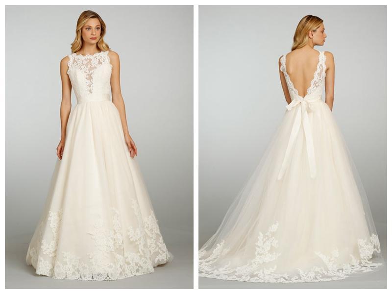 Düğün - Sleeveless Bateau Neckline Lace V-back Wedding Dress