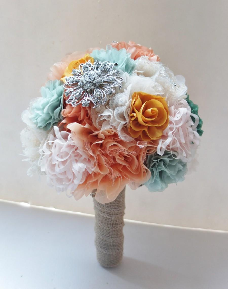 Shabby Chic Fabric Flower Bouquet Peach Fabric Flower Bouquet