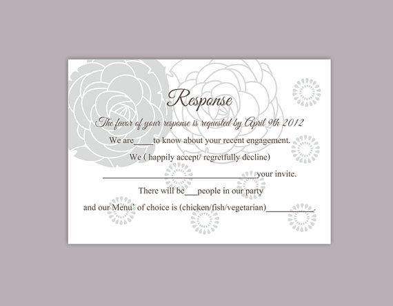 Mariage - DIY Wedding RSVP Template Editable Word File Instant Download Rsvp Template Printable RSVP Cards Floral Gray Silver Rsvp Card Rose Rsvp Card
