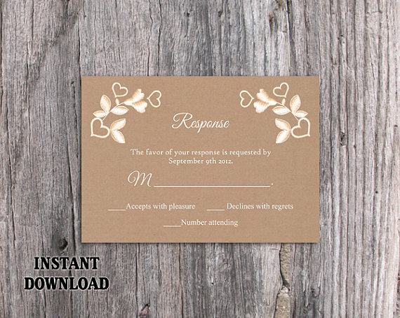 diy lace wedding rsvp template editable word file instant