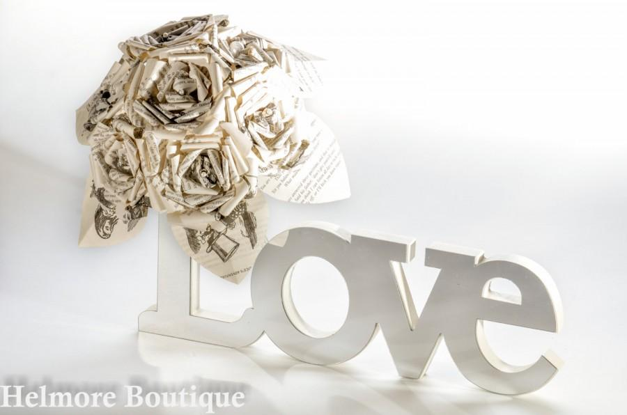Wedding - Alice in Wonderland Paper Rose Bridal Book Bouquet by  Fictional Flower, Bibliophile geek chic literary wedding flowers, alternative bouquet