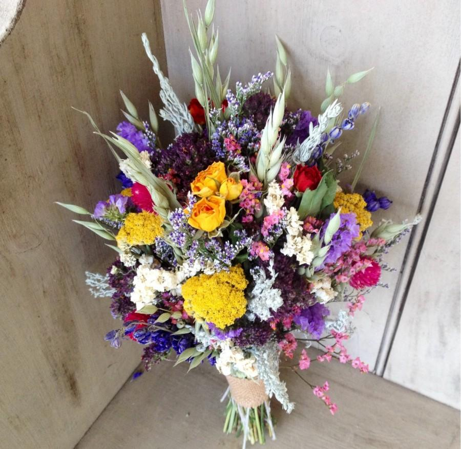 Colorful Dried Flower Bridal Bouquet Perfect For Your Garden