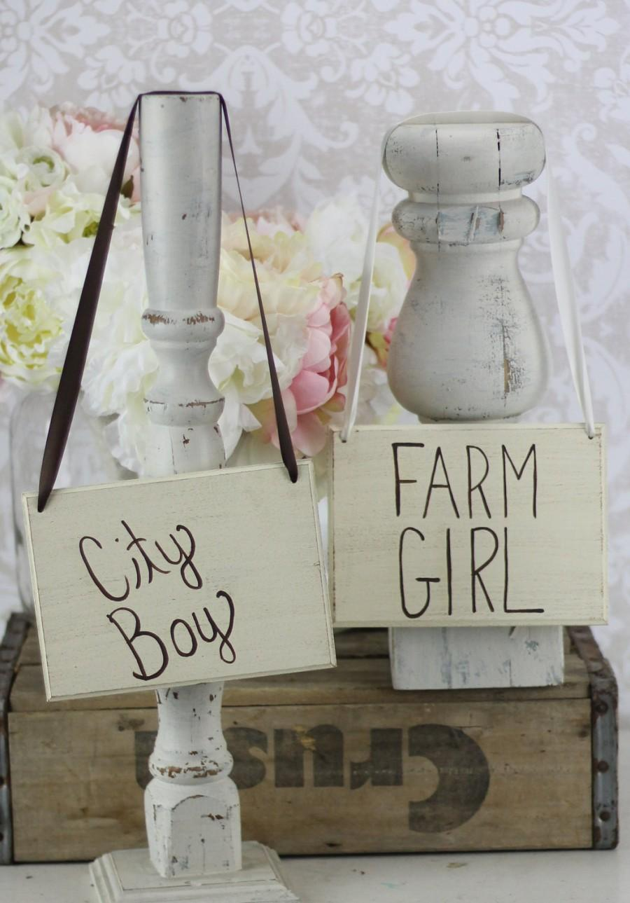 Wedding - Bride and Groom Chair Signs Rustic City Boy and Farm Girl (item P10352)