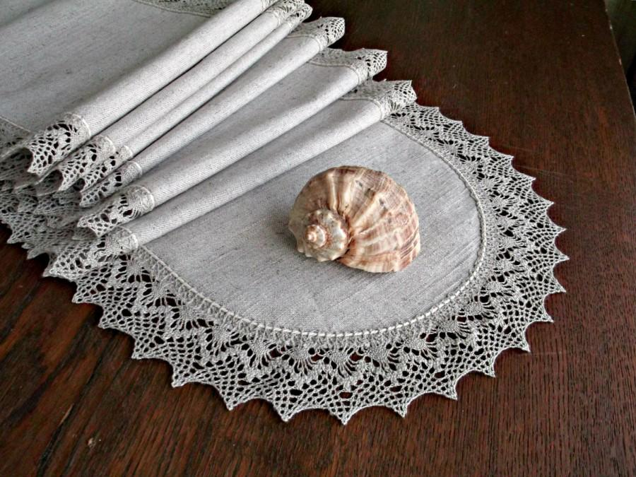 Charming Rustic Table Decorations Extra Long Narrow Wedding Table Runner Natural  Lace Edging Rounded Ends Linen Table Centerpiece 112 Inch