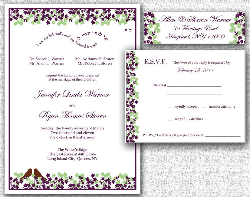 Wedding Invitation Rsvp Card  Return Address Labels  Template Set