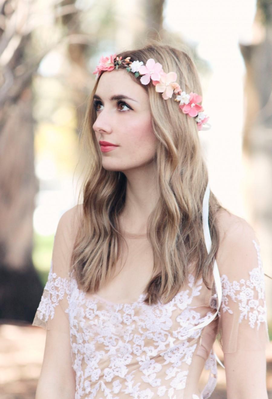 Свадьба - peachy pink flower crown, wedding headpiece, flower crown, bridal headband, wedding headband, bridal headpiece, wedding accessories