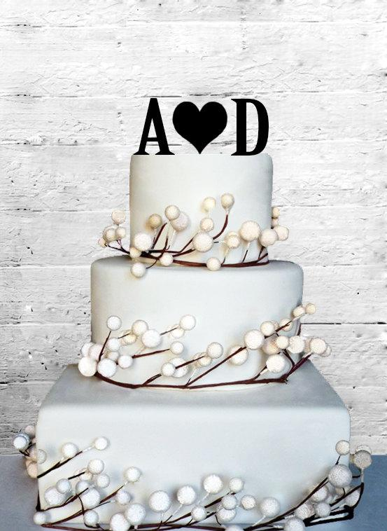 "Mariage - 6"" Personalized Custom Wedding Initials Cake Topper Monogram cake topper Personalized Cake topper Acrylic Cake Topper"