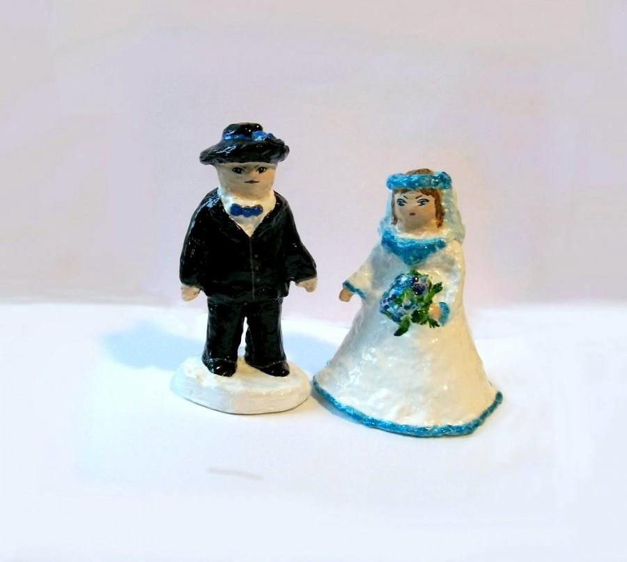 Wedding - Wedding décor Wedding Cake Toppers 2 Figures Sculpture Dolls Bride and Groom  Handmade Hand painted Ready to Ship