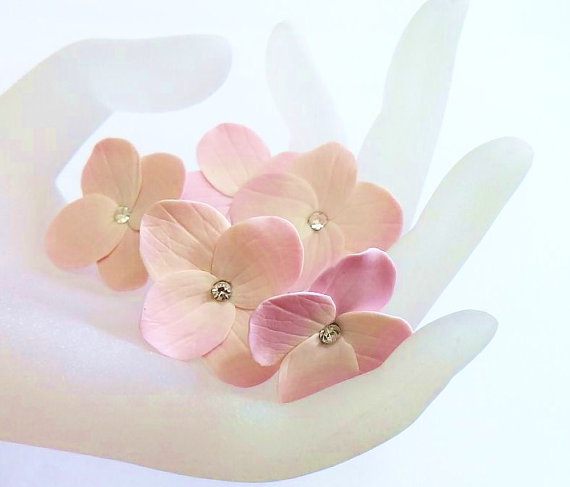 Wedding - Pink Hydrangea - Flower Accessories - Hydrangea Wedding Hair Accessories, Wedding Hair Flower Hair - Set of