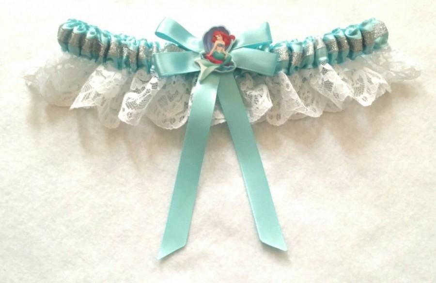 Hochzeit - Disney Ariel Little Mermaid Satin/satin and lace Garter/Garter Set
