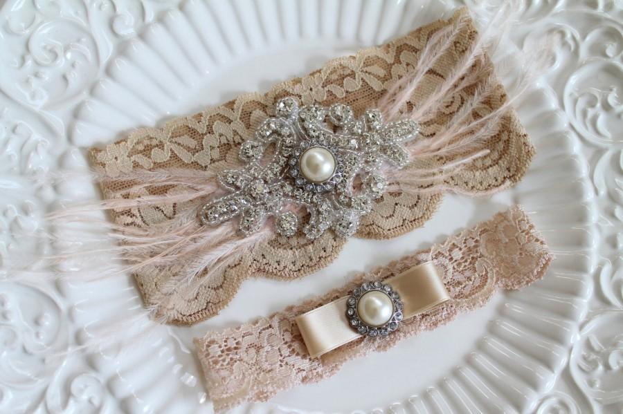 Hochzeit - Bridal Gatsby Champagne rhinestone Garter Set. Crystal Applique Nude Stretch Lace Pearl wedding garter. FEATHER N CRYSTAL