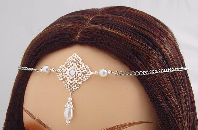 Mariage - CUSTOM Pearl Elvish Medieval CIRCLET tiara crown diadem LARP CosPlay silver pink white ivory Item #3291