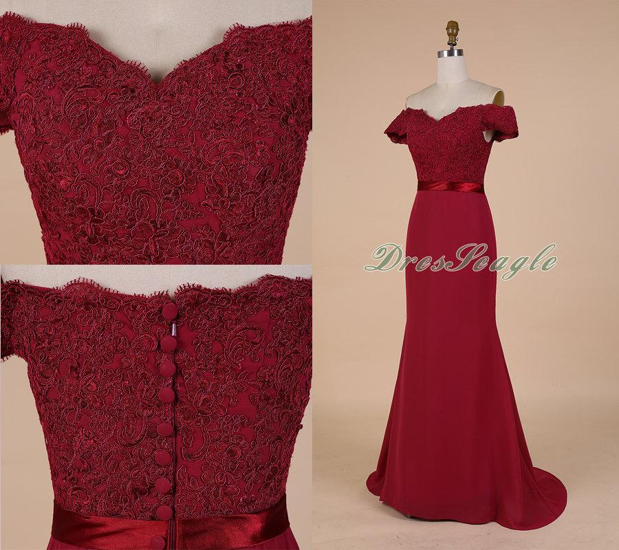 d10f89688d5 A Line Burgundy Chiffon And Lace Applique Long Bridesmaid Dress