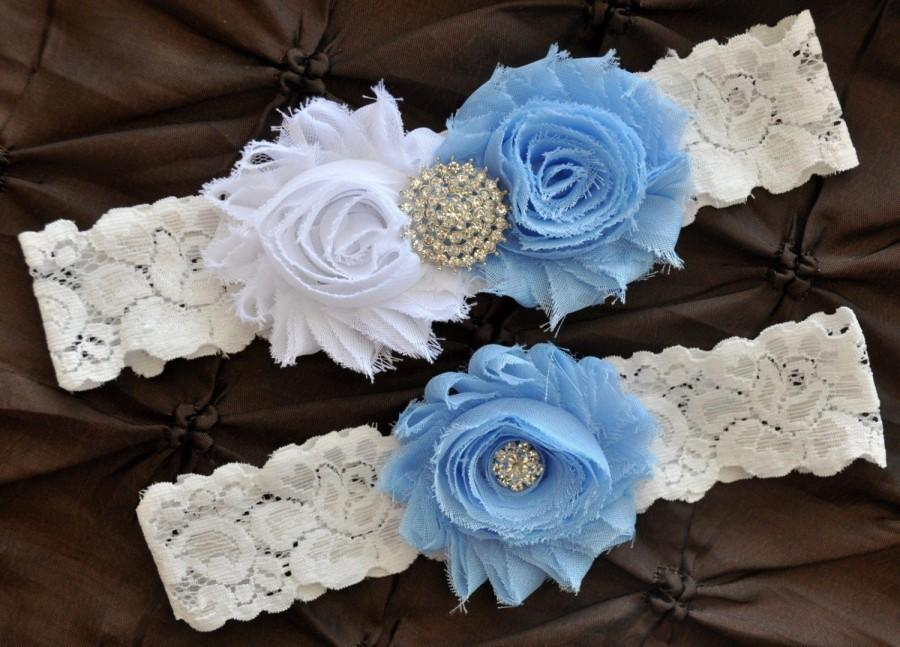 Свадьба - Wedding Garter Belt, Bridal Garter Set - Lace Garter, Keepsake Garter, Toss Garter, Shabby Chiffon Rosette Baby Blue White, Something Blue