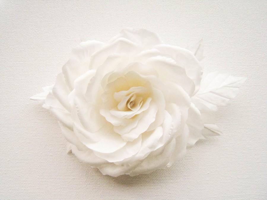 Свадьба - Bridal flower wedding rose from natural silk , flower 100% HANDMADE, offwhite wedding, hair pin, headpiece