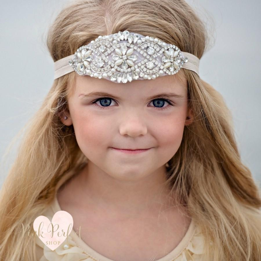 Rhinestone Headband, Flower Girl Headband, Crystal Headband, Bridal ...