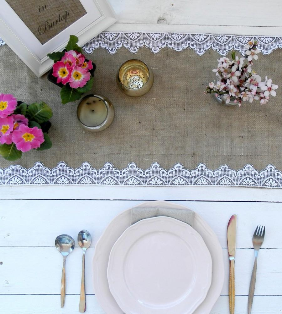 Set Of 6 Burlap Lace Runners 14\'\'x 84\'\' - Rustic Wedding Runner ...