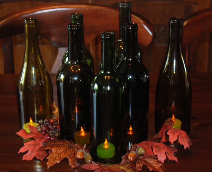 Mariage - Set of 7 Hand Cut Wine Bottle Hurricane Candles- Perfect for the Fall Table/Wedding