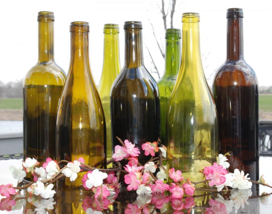 Mariage - Set of 7 Hand Cut Wine Bottle Hurricane Candles- Perfect for the Table/Wedding