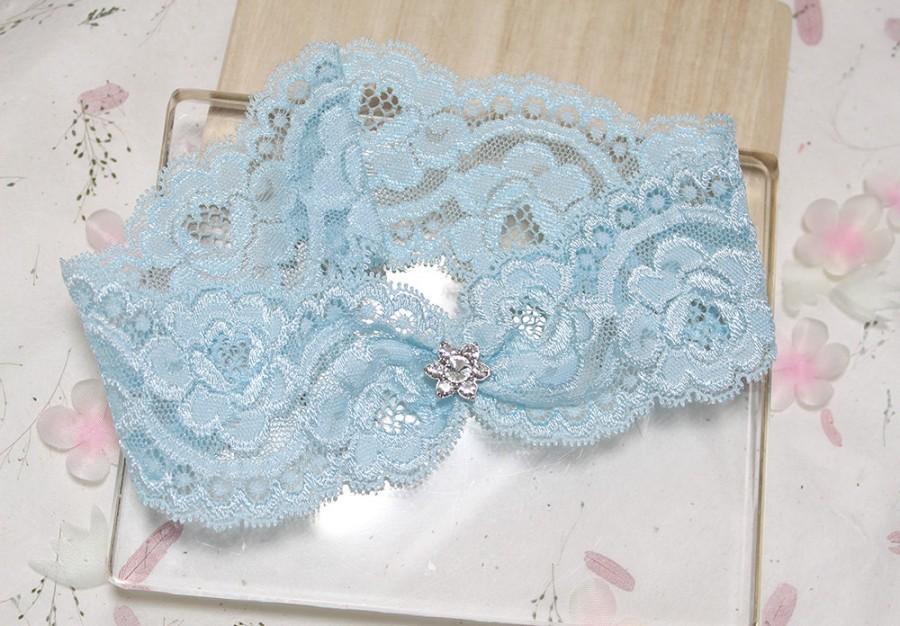 Blue Rose Lace Garter Wedding Bridal Keepsake Something Single