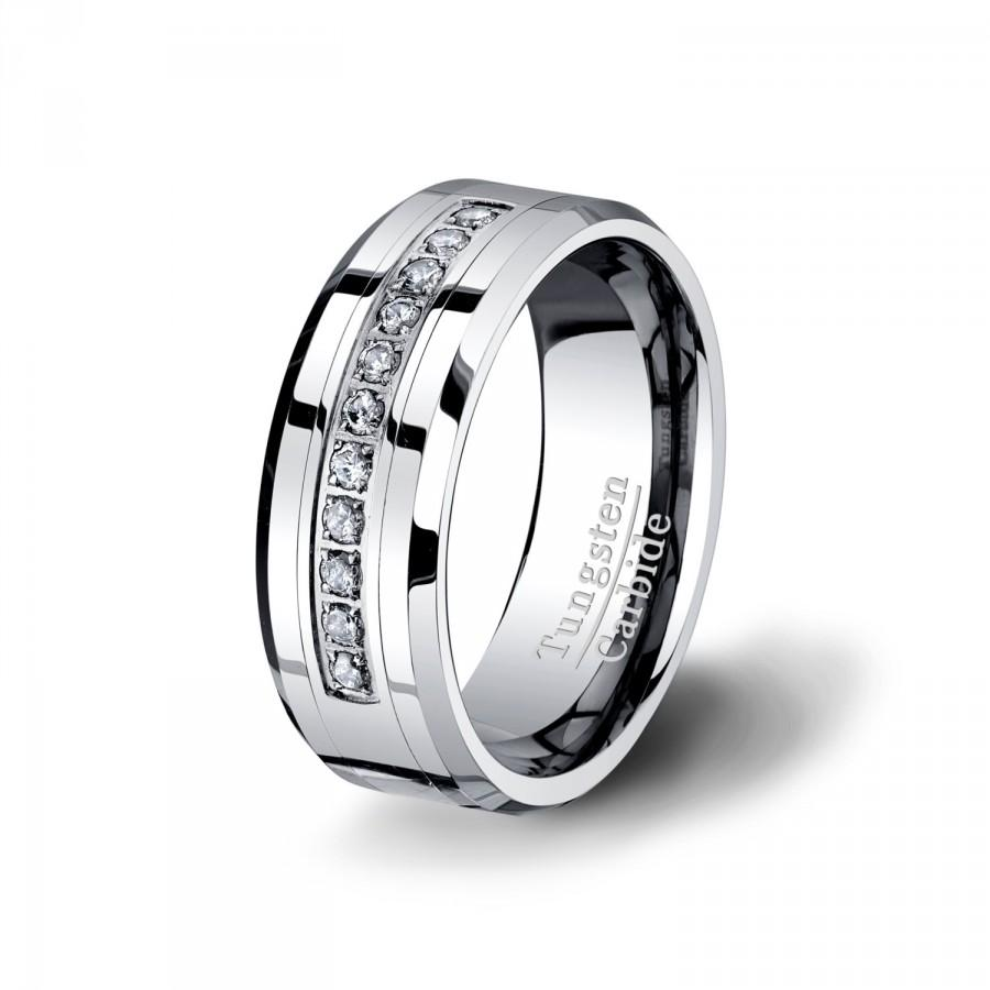 Свадьба - Mens Wedding Band Tungsten Ring HIGH QULAITY Tungsten Carbide Polished Surface CZ Beveled Edges 6mm and 8mm Comfort Fit