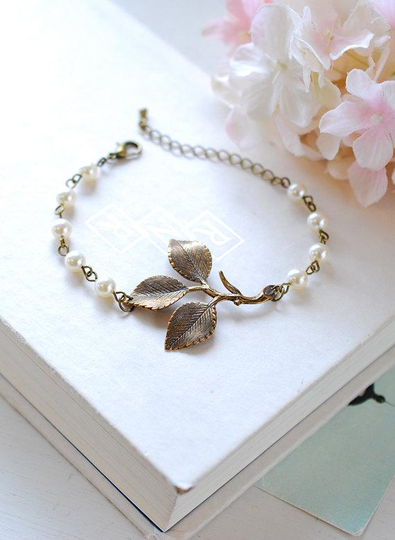 Wedding - Leaf Bracelet Antiqued Brass Leaf Sprig White Cream Pearls Adjustable Bracelet Woodland Wedding Jewelry Bridal Bracelet Bridesmaid Bracelet