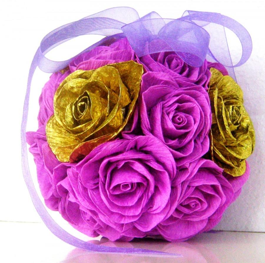Gold Lilac Lavender Crepe Paper Kissing Balls Flowers Wedding Decor