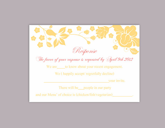 Hochzeit - DIY Wedding RSVP Template Editable Word File Download Rsvp Template Printable RSVP Cards Floral Yellow Gold Rsvp Card Elegant Rsvp Card