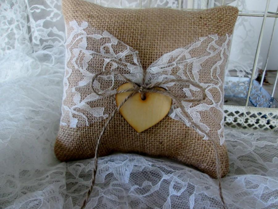 Mariage - Personalized Burlap and lace flower ring bearer pillow, Vintage style rustic, barn country wedding pillow