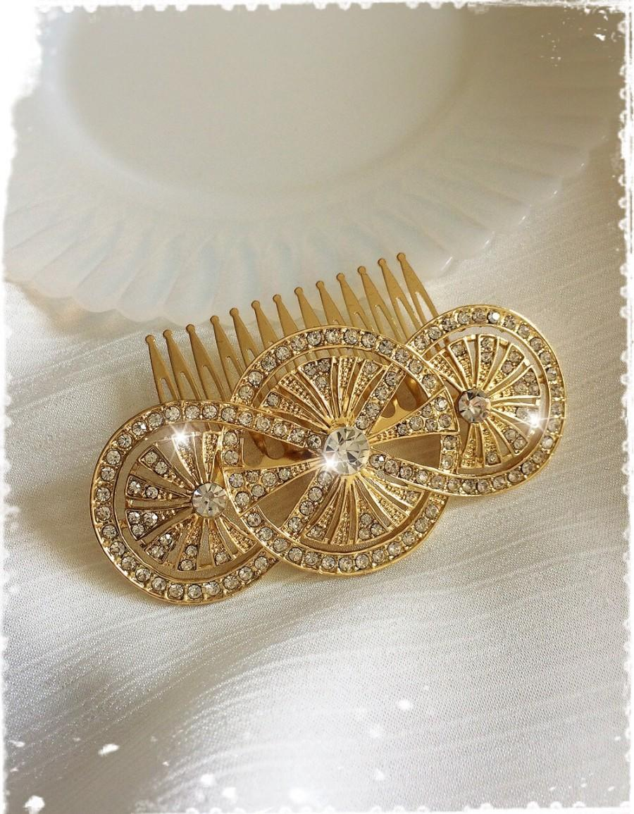 "Wedding - 1920s Art Deco Great Gatsby Inspired Crystal Gold Comb Wedding Hair Accessory-Vintage Bridal Headpiece-Art Deco Crystal Comb-""KRISTINA gold"""