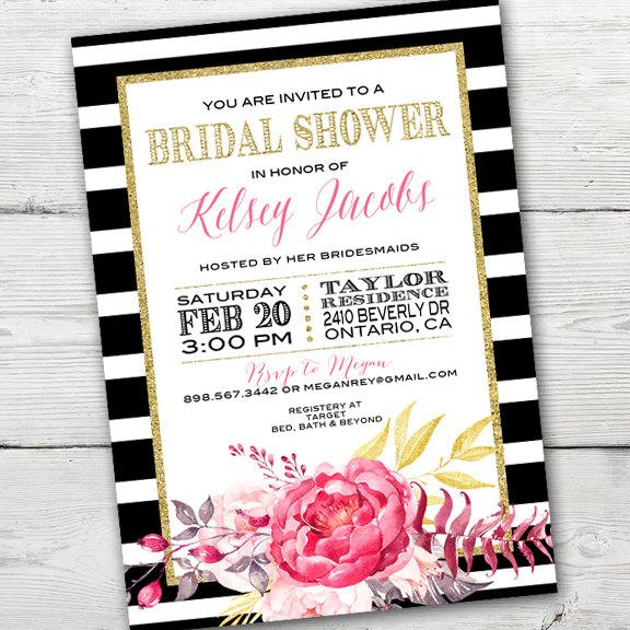 kate spade inspired bridal shower invitation, printable kate spade, Wedding invitations