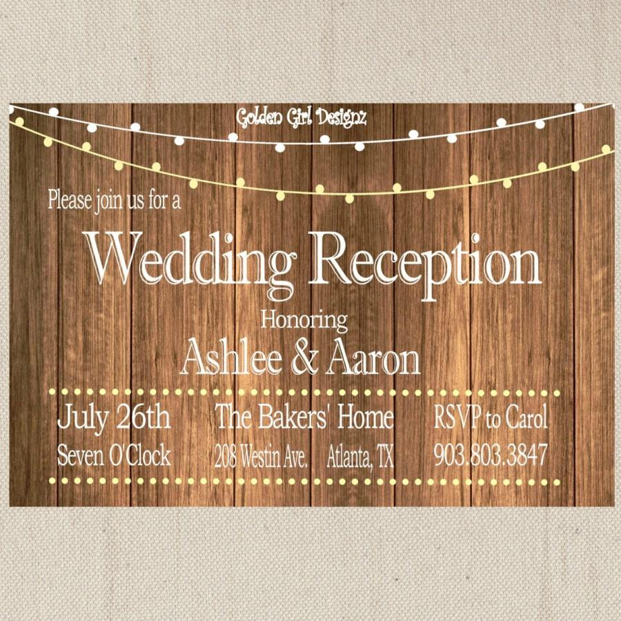 vintage lights wedding reception invitation on wooden background