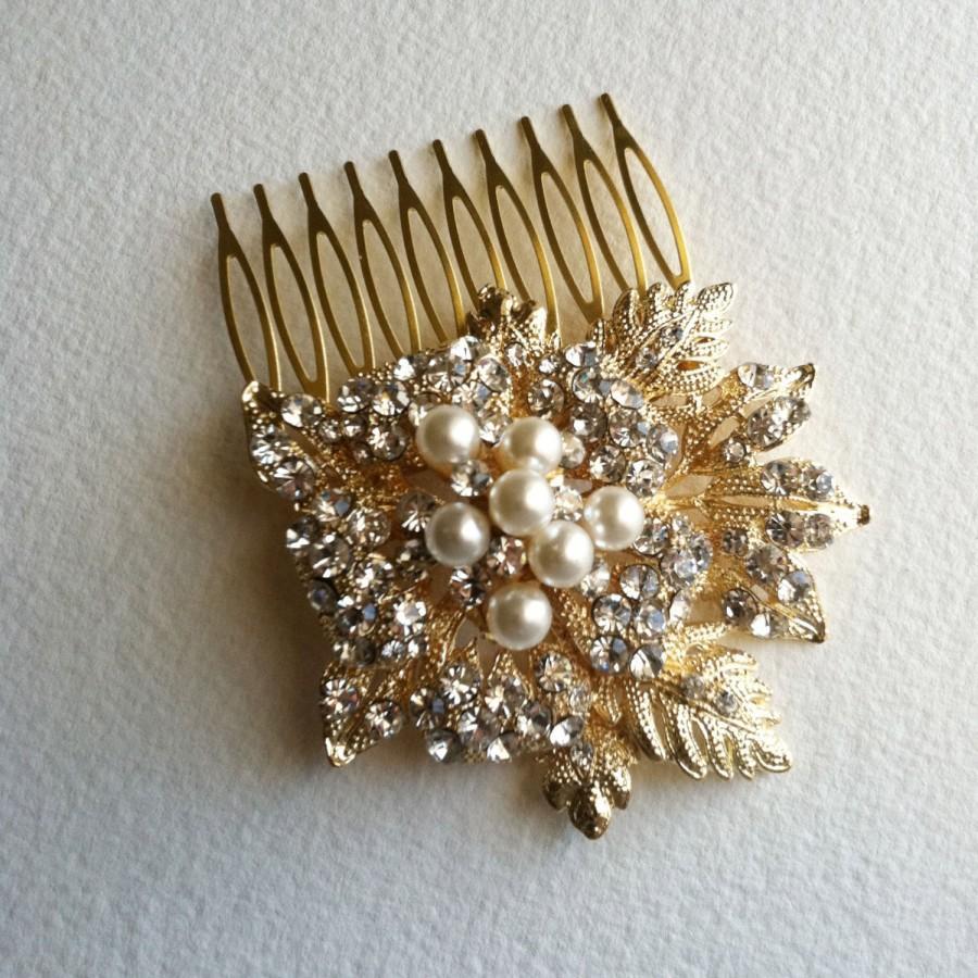 Mariage - Gold hair Comb, winter wedding, wedding hair comb, vintage bridal comb, leaves foliage, crystal rhinestone hair accessories pearl GOLD LEAF