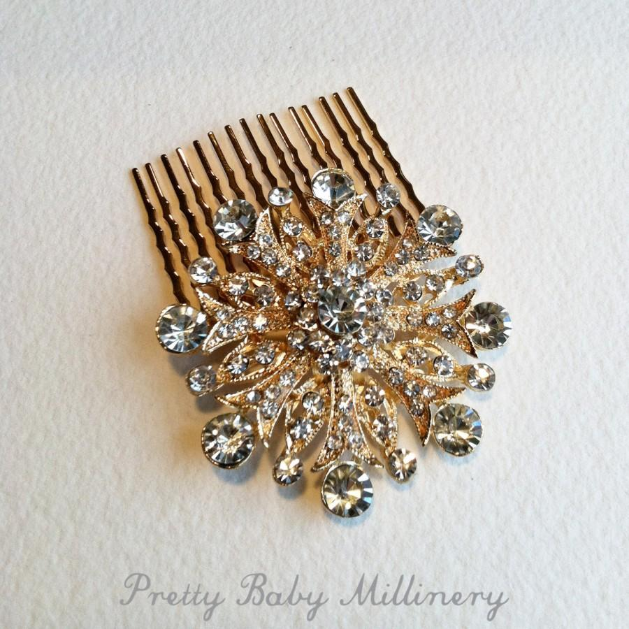 Mariage - Winter Wedding, christmas hair accessories,Gold hair Comb, Art Deco hair comb,snowflake comb,rose gold,comb Mid Century christmas
