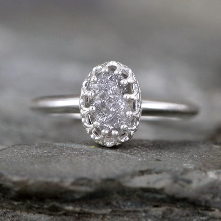 Raw Diamond Engagement Ring – Crown Style – Sterling Silver – Rough Uncut Diamond  Rings – April Birthstone  Made In Canada
