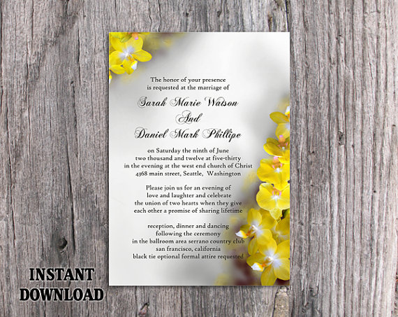 Wedding - DIY Wedding Invitation Template Editable Word File Instant Download Printable Flower Invitation Orchid Wedding Invitation Yellow invitation