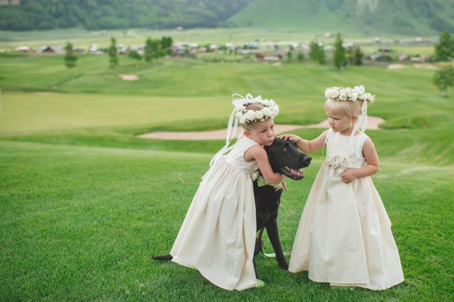 Hochzeit - Flower girl dress, rustic flower girl dress, Natural Cotton Flower Girl Dress