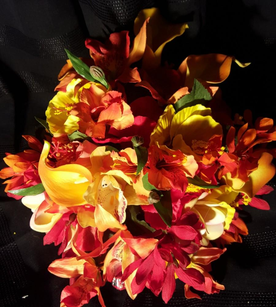 Wedding - Tropical Brides Bouquet in red, yellow, orange calla lillies, tiger lillies, hibiscus orchids