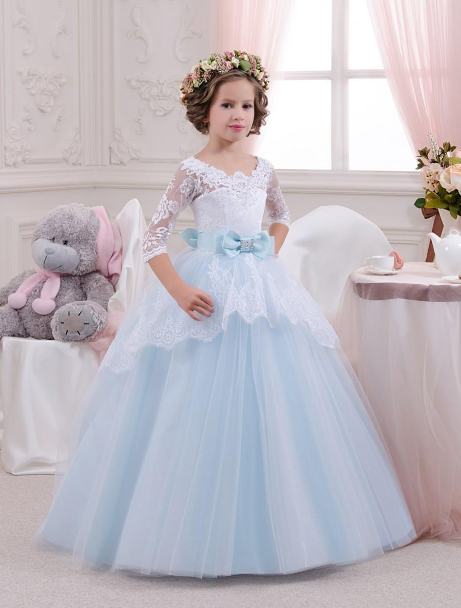 White and blue lace flower girl dress birthday wedding party white and blue lace flower girl dress birthday wedding party holiday bridesmaid white and blue tulle lace flower girl dress izmirmasajfo