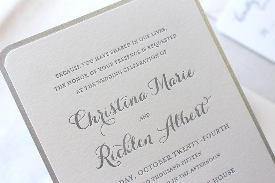 The Snowdrop Suite Modern Letterpress Wedding Invitation Silver Glitter Champagne White Formal Elegant Calligraphy Script
