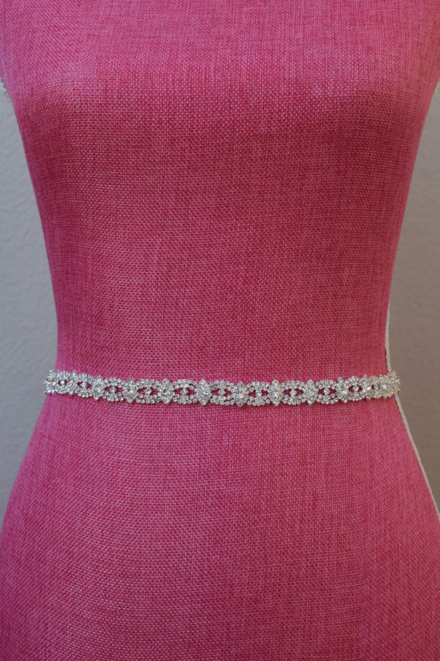 Mariage - Thin Crystal Rhinestone Belt-  Bridal Belt- Rhinestone Hair Band - Bridesmaids Belt - Bridal Sash -  EYM B003