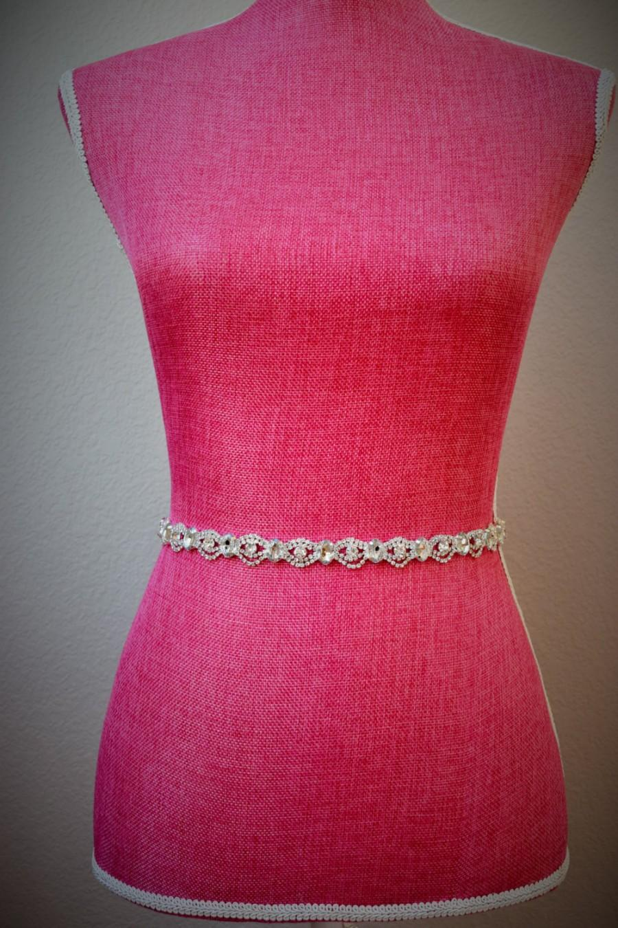 Mariage - Thin Crystal Rhinestone Belt-  Bridal Belt- Rhinestone Hair Band - Bridesmaids Belt - Bridal Sash -  EYM B004