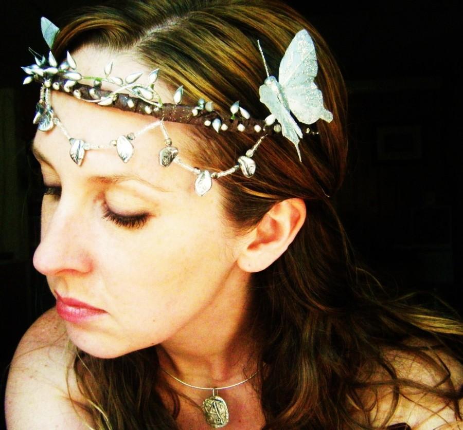 Mariage - Silver Butterfly Bridal Headpiece Crown-Wear it Four Ways.