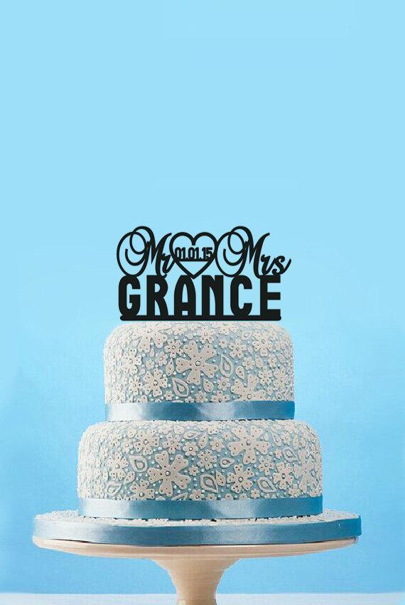 Wedding - Personalized Mr&Mrs Wedding Cake Topper,Custom last name cake topper,Monogram Rustic wedding cake topper,Traditional wedding cake toper-8518