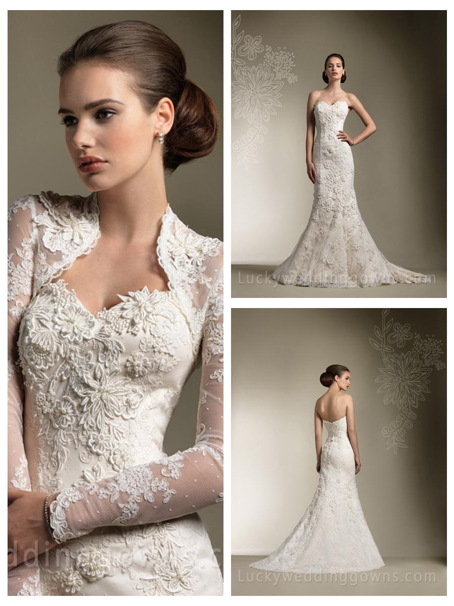 Wedding - Trumpet/Mermaid All Over Lace Sweetheart Wedding Dress with Long Sleeve Jacket Gorgeous