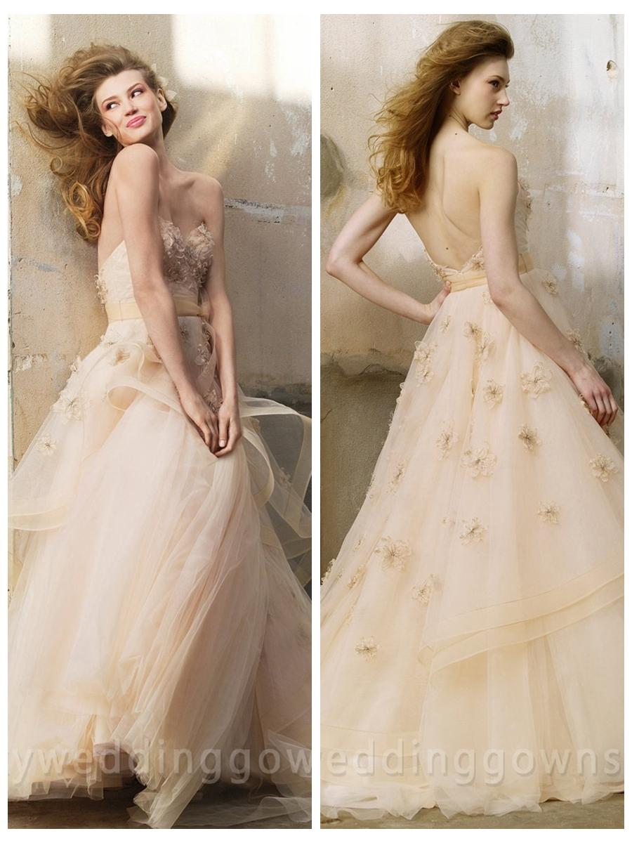 Wedding - Luxury Fashion Oatmeal Tulle Wedding Dress with Crystal Flowers
