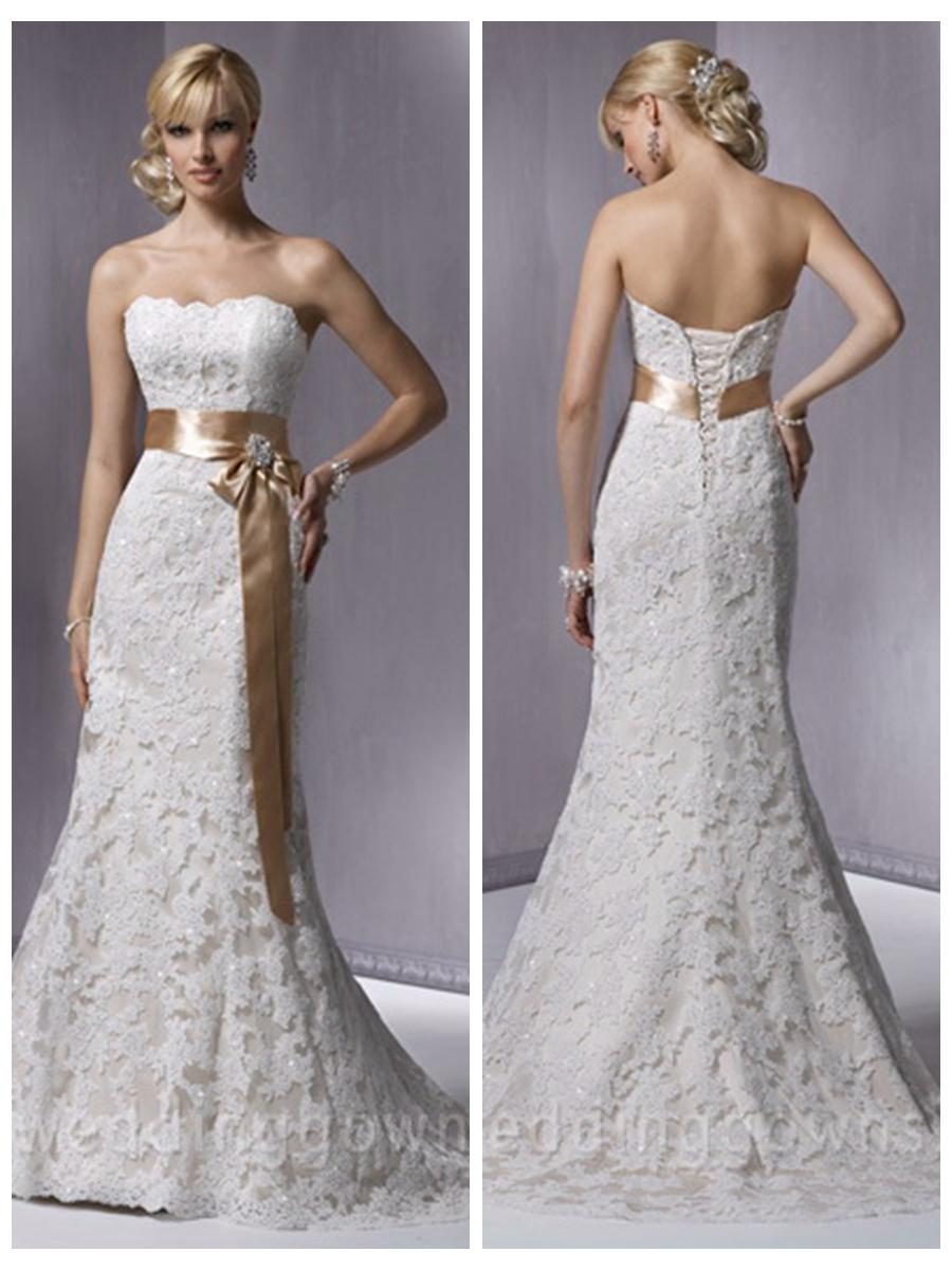 Slim A Line Strapless Satin Lace Beading Wedding Dress With Waist Belt